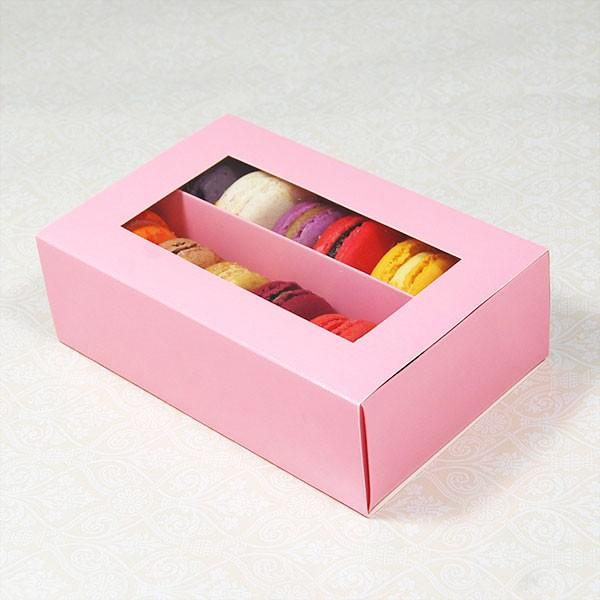 12 Pink Window Macaron Boxes ($3.50/pc x 25 units)