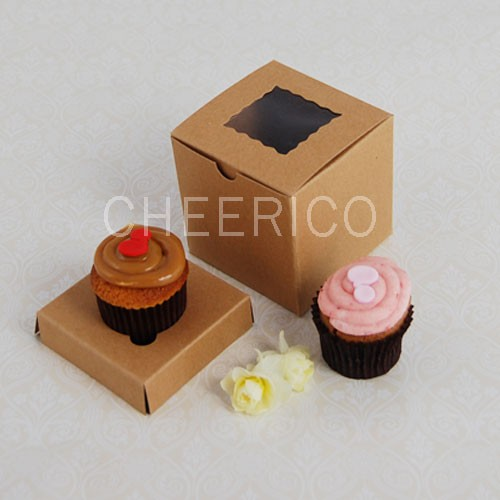 1 Kraft Brown Window Mini Cupcake Box ($1.50/pc x 25 units)