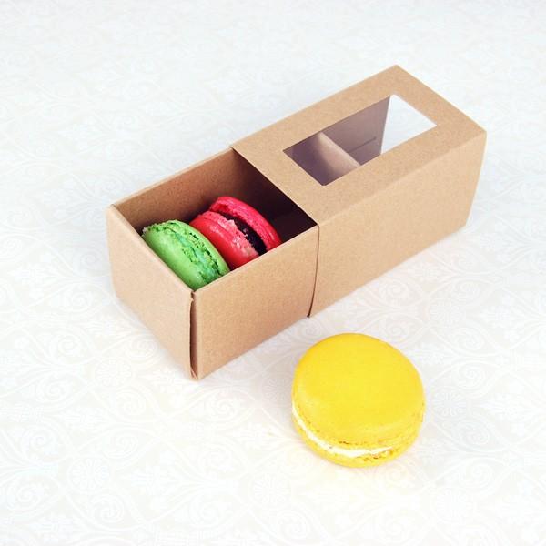 3 Macaron Window Kraft Brown Boxes($1.85/pc x 25 units)