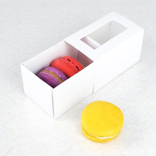 3 Macaron White Window Macaron Boxes($1.85/pc x 25 units)