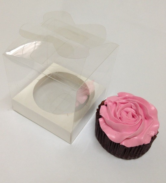 Butterfly Top Single Clear Cupcake Box w Insert ($1.60/pc x 25 units)