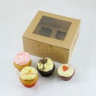 4 Kraft Brown Cupcake Window Box ( $2.20/pc x 25 units)