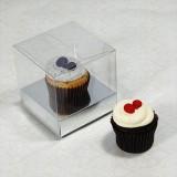 1 Cupcake Clear Mini Cupcake Boxes w Silver insert($1.50pc x 25 units)