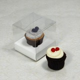 1 Cupcake Clear Mini Cupcake Boxes w White insert($1.50pc x 25 units)