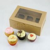 6 Cupcake Window Kraft Brown Box($2.55/pc x 25 units)